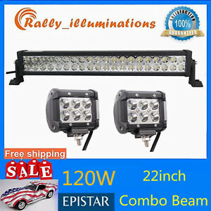 22inch 120w Led Combo Light Truck Jeep Driving 2x Cree 4 18w Spot Light 12v24v