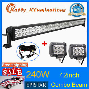 42inch 240w Led Light Combo Tractor Jeep 2x 18w 4 Driving Offroad wiring Kit