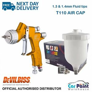 Devilbiss Gti Pro Lite T110 Gravity Spray Gun gold Clear Coat 1 3