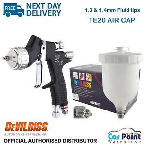 Devilbiss Gti Pro Lite Te20 Gravity Spray Gun black Clear Coat 1 3