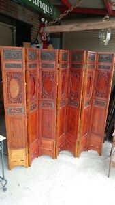 Antique Asian 7 Panel Carved Wood Dressing Screen Room Divider Beautiful