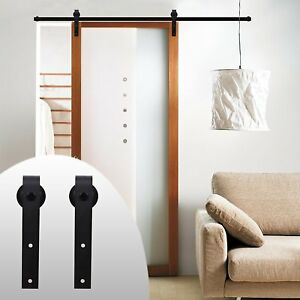 Lwzh 9ft Sliding Barn Door Steel Hardware Kit For Single Doorblack J Shaped