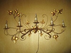Large Vintage Italy Gilt Metal Electric Wall Sconce 5 Light Bold Tole 21 X 41