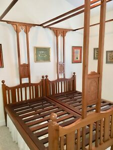 Antique Victorian Colonial Teak Indian Twin Canopy Bed Pair 3 4 By 6 5 Each