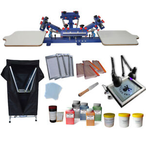 4 Color Screen Printing Kit Press Printer With Exposure Unit Drying Cabinet