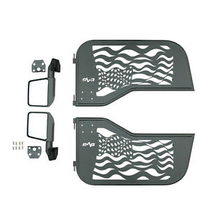 81 96 Jeep Cj7 Yj Wrangler Us Flag 2 Tubular Door Left Right With Side Mirror