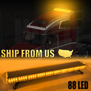 88led 47 Light Bar Emergency Beacon Warn Tow Truck Response Strobe Amber Yellow