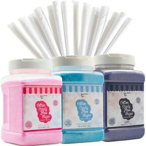The Candery Cotton Candy Floss Sugar 3 pack 3 pack 46oz With 100 Cones