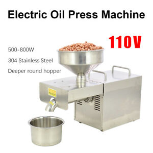 Stainless Steel Automatic Oil Press Extraction Machine Commercial Home Use 110v