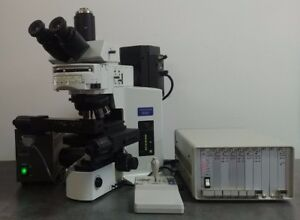Olympus Microscope Bx51 With Motorized Stage Fluorescence And Phase Contrast