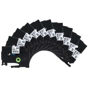 10pk Tze211 Compatible For Brother Label Tape Cassette P touch Black On White