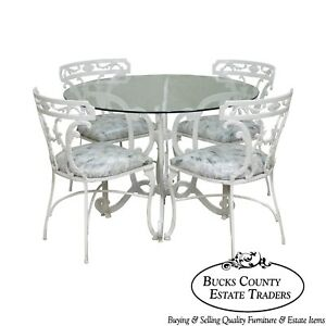 Molla Victorian Style White Cast Aluminum Round Glass Top Table 4 Chair Dinette