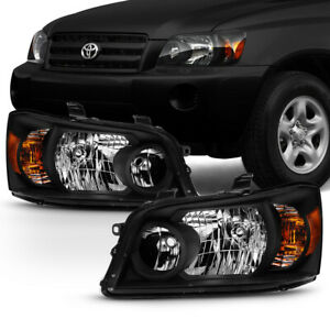 oe style Black Headlights Replacement Housing For 2001 2007 Toyota Highlander