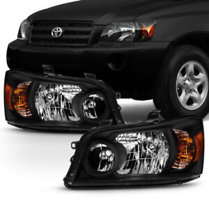 04 07 Toyota Highlander Factory Style Black Housing Headlight Replacement Lamp