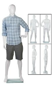 Full Body Mannequin Form Male Glossy White Retail 6 2 Tall Man Chest 36