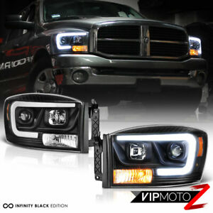 06 08 Dodge Ram 1500 Pickup Truck Black Led Drl Tube Projector Headlight Lamp