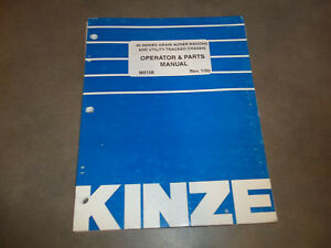 Kinze 40 Series Grain Auger Wagons Operator Parts Manual loose Leaf Only