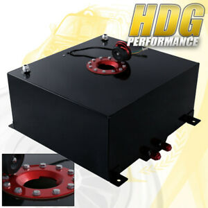 50 Liter 13 Gallon Black Aluminum Fuel Cell Tank W Red Cap Track Upgrade
