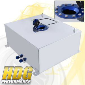 80 Liter 21 Gallon Chrome Aluminum Fuel Cell Tank W Blue Cap Track Upgrade