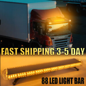47 88led Emergency Beacon Warn Tow Truck Response Strobe Light Bar Amber Yellow