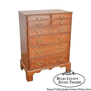 Chippendale Style Solid Oak Dovetailed Case Chest Of Drawers