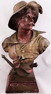 Rare Antique 19th C French Bronze Bust Salvator Rosa By E Picault Rouge Marble