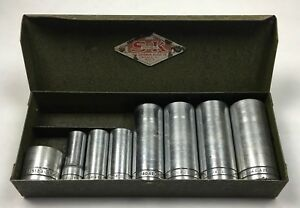 Vintage S k Tools 8 Piece Socket Set Green Metal Case Box 3 8 Drive Usa Nice