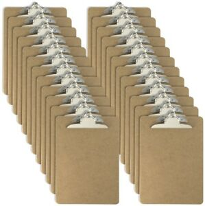 Officemate Letter Size Wood Clipboards 6 Inch Clip 24 Pack Clipboard Brown