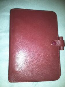 Filofax Red Leather Personal Richmond 3 ring Binder Organizer Planner