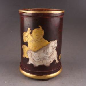 China Antiques Pure Copper Gilt Hand Made Children Pen Container Brush Pot