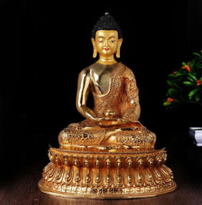12 Antique Tibetan Buddhism Copper Gilt Hand Painting Amitabha Buddha Statue