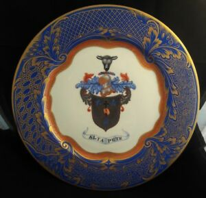 C1900 Limoges 8 Cobalt Blue Gilded Coat Arms Cabinet Chargers Plates