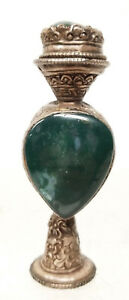 Antique Tibetan Mongolian Nepal Agate Bloodstone Mounted Silver Snuff Perfume