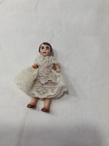 2 German Porcelain Bisque Doll With Lace Dress