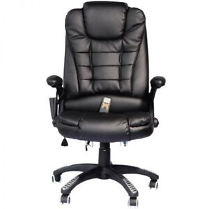 Executive Ergonomic Chair High back Pu Leather Heated Vibrating Massage Office