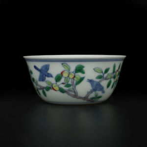 China Antiques Ming Chenghua Doucai Contrasting Colors Flower Bird Peach Bowl