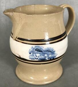 Antique 19thc English Victorian Mocha Mochaware Blue Seaweed Cream Pitcher Jug
