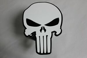 Gtg White Punisher Skull Hitch Cover Plug For Trailer Ball Receiver Towing