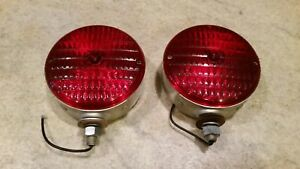 2 Vintage Kd 752 Red Waffle Lights Post Mount Fender Cab Rear Brake Rat Rod