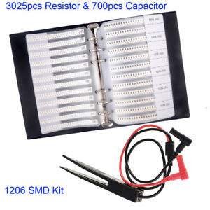 3725pcs Smd 1206 63value Resistor 5 17value Capacitor Sample Book clip Tweezer