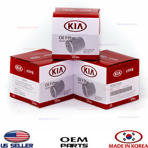 Engine Oil Filter 3pcs Oem Genuine Gasoline Kia 1986 2020 2630035505