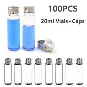 100pcs 20ml 18mm Sample Vials Caps Clear Glass Vial Bottle Ptfe silicone Septa