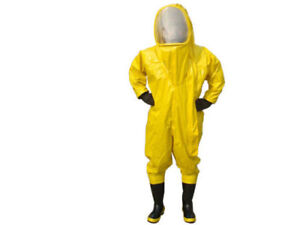 Heavy Type Fully Enclosed Chemical Protective Suit Yellow With Respirator Bag Y