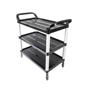 Portable 3 Shelf Heavy Duty Rolling Plastic Utility Cart Storage W Handles New