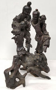 Antique Chinese Carved Hardwood Rootwood Root Sculpture Statue Figure Immortals