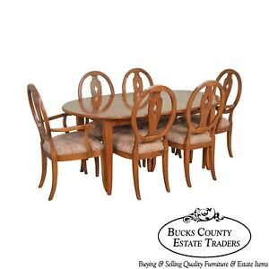 Ethan Allen Country Colors Maple Dining Set Table 6 Chairs