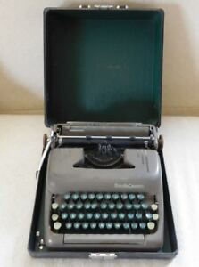 Smith Corona Silent Portable Typewriter Brown Body green Keys Interior Case