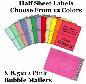 8 5x12 Pink Poly Bubble Mailers 8 5x5 Half Sheet Self Adhesive Shipping Labels