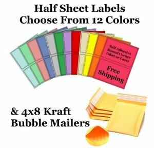 4x8 Kraft Bubble Mailers 8 5x5 5 Half Sheet Self Adhesive Shipping Labels