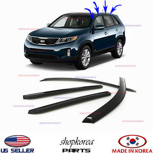 Smoked Door Visor Window Wind Vent Deflector Fits For Kia Sorento 2011 2015 A109